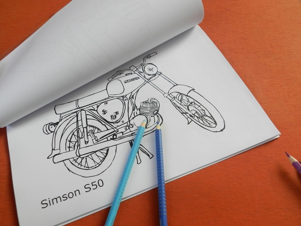 malbuch ddr zweiräder simson mz  classic parts 79